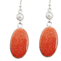 925 silver 20.40cts natural brown goldstone white pearl dangle earrings r75800