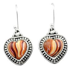 925 silver 8.31cts natural brown heckonite rainbow dangle earrings t41509