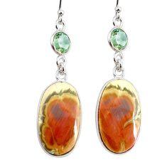 925 silver 16.04cts natural brown imperial jasper amethyst earrings r75763