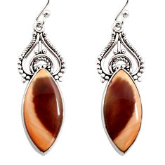 925 silver 15.08cts natural brown imperial jasper dangle earrings r30305