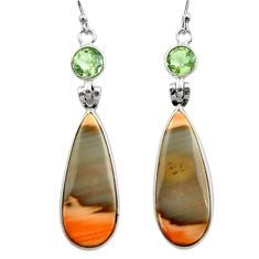 925 silver 19.29cts natural brown imperial jasper dangle earrings r30467