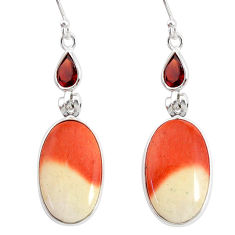 925 silver 17.85cts natural brown mookaite garnet dangle earrings jewelry r86944
