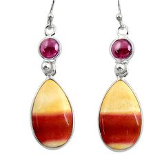 925 silver 14.73cts natural brown mookaite red garnet dangle earrings r28944