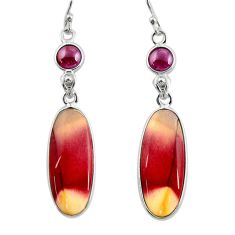 925 silver 16.49cts natural brown mookaite red garnet dangle earrings r28948