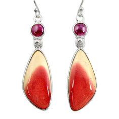 925 silver 18.65cts natural brown mookaite red garnet dangle earrings r28952