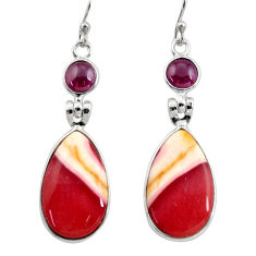 925 silver 16.50cts natural brown mookaite red garnet dangle earrings r30358