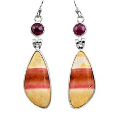925 silver 17.61cts natural brown mookaite red garnet dangle earrings r30475