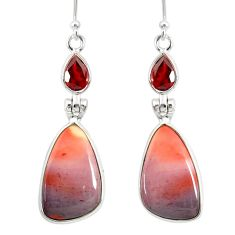 925 silver 15.76cts natural brown mookaite red garnet dangle earrings r86953