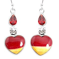 925 silver 11.24cts natural brown mookaite red garnet dangle earrings r86959