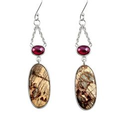 Clearance Sale- 925 silver 16.88cts natural brown mushroom rhyolite dangle earrings d39717