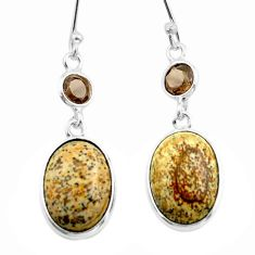 925 silver 9.91cts natural brown picture jasper smoky topaz earrings t54924