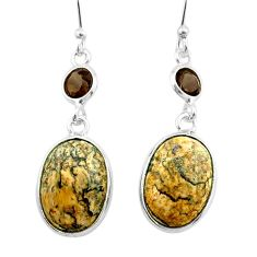 925 silver 10.45cts natural brown picture jasper smoky topaz earrings t54929