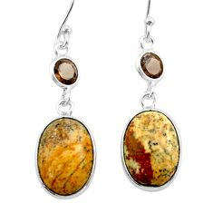 925 silver 9.77cts natural brown picture jasper smoky topaz earrings t54932