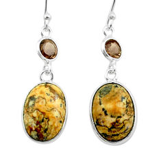 925 silver 10.50cts natural brown picture jasper smoky topaz earrings t54934