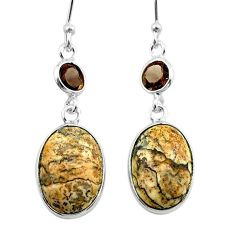 925 silver 10.50cts natural brown picture jasper smoky topaz earrings t54936