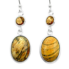 925 silver 9.77cts natural brown picture jasper smoky topaz earrings t54939