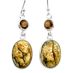 925 silver 9.46cts natural brown picture jasper smoky topaz earrings t56040