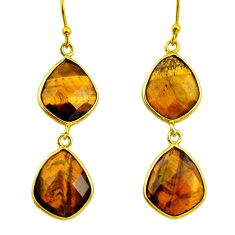 925 silver 17.43cts natural brown tiger's eye 14k gold dangle earrings r32460