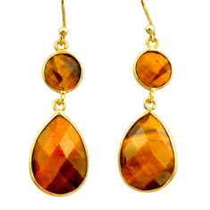 925 silver 14.85cts natural brown tiger's eye 14k gold dangle earrings r32714