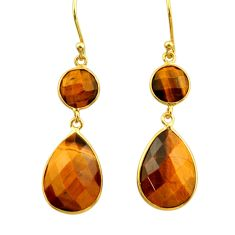 925 silver 17.32cts natural brown tiger's eye 14k gold dangle earrings r32718