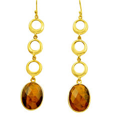 925 silver 18.82cts natural brown tiger's eye 14k gold dangle earrings r32734