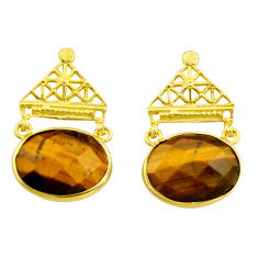 925 silver 17.96cts natural brown tiger's eye 14k gold dangle earrings r32754