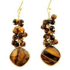 925 silver 28.45cts natural brown tiger's eye 14k gold dangle earrings r32798