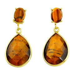 925 silver 23.23cts natural brown tiger's eye 14k gold dangle earrings r32819