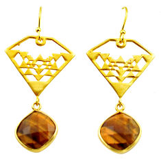 925 silver 13.35cts natural brown tiger's eye 14k gold dangle earrings r32859