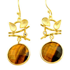 925 silver 18.06cts natural brown tiger's eye 14k gold dangle earrings r32895