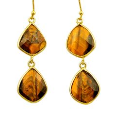 925 silver 20.70cts natural brown tiger's eye 14k gold dangle earrings r32940