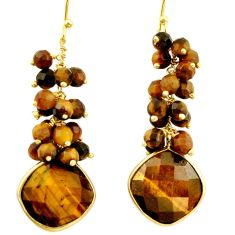 925 silver 25.09cts natural brown tiger's eye 14k gold dangle earrings r38740