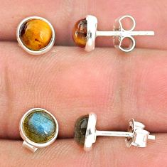 925 silver 4.01cts natural brown tiger's eye labradorite stud earrings t23910