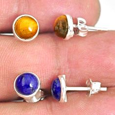 925 silver 6.19cts natural brown tiger's eye lapis lazuli stud earrings r81590