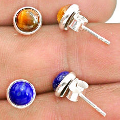 925 silver 4.46cts natural brown tiger's eye lapis lazuli stud earrings t23894