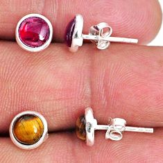 925 silver 4.92cts natural brown tiger's eye red garnet stud earrings r65524