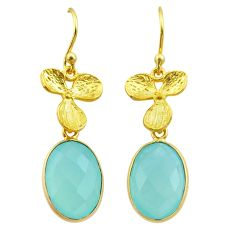 925 silver 10.70cts natural chalcedony 14k gold birds charm earrings t44060