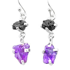 925 silver 9.54cts natural diamond rough amethyst raw dangle earrings t26763