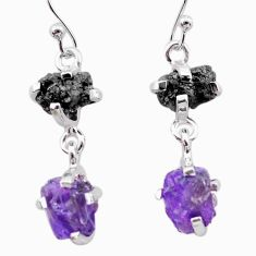 925 silver 8.76cts natural diamond rough amethyst raw dangle earrings t26780