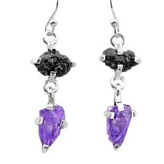 925 silver 8.70cts natural diamond rough amethyst raw dangle earrings t26789