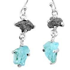 925 silver 9.41cts natural diamond rough aquamarine raw dangle earrings t25799