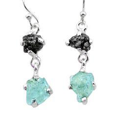 925 silver 8.10cts natural diamond rough aquamarine raw dangle earrings t26791