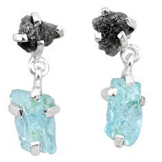925 silver 9.54cts natural diamond rough aquamarine raw fancy earrings t25778