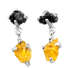 925 silver 8.18cts natural diamond rough citrine raw dangle earrings t25708