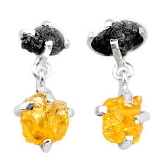 925 silver 10.56cts natural diamond rough citrine raw dangle earrings t25736