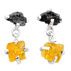 925 silver 10.11cts natural diamond rough citrine raw dangle earrings t25740