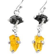 925 silver 8.81cts natural diamond rough citrine raw dangle earrings t26775