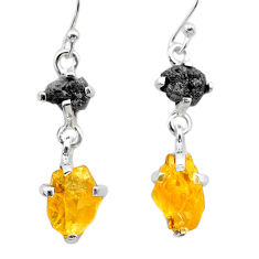 925 silver 10.08cts natural diamond rough citrine raw dangle earrings t26784