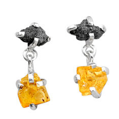 925 silver 9.68cts natural diamond rough citrine raw xdangle earrings t25706