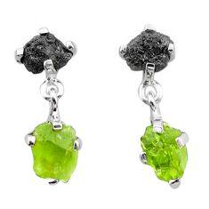 925 silver 8.48cts natural diamond rough peridot raw fancy earrings t25747